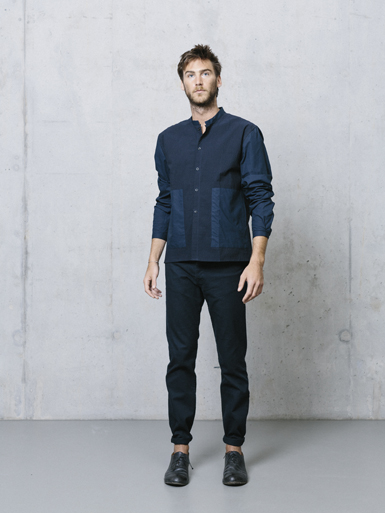 Navy Seersucker Collarless shirt with pockets, £140.00, Homecore-Paris  (at Dover St. Market)