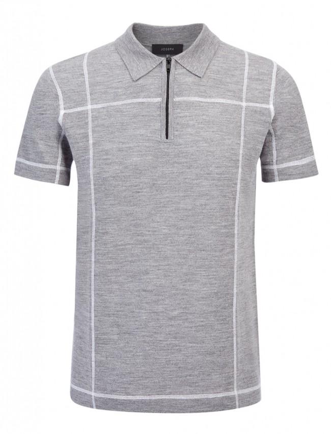 Stitch Merino Grey Polo Shirt with zip detail, £145.00, Joseph