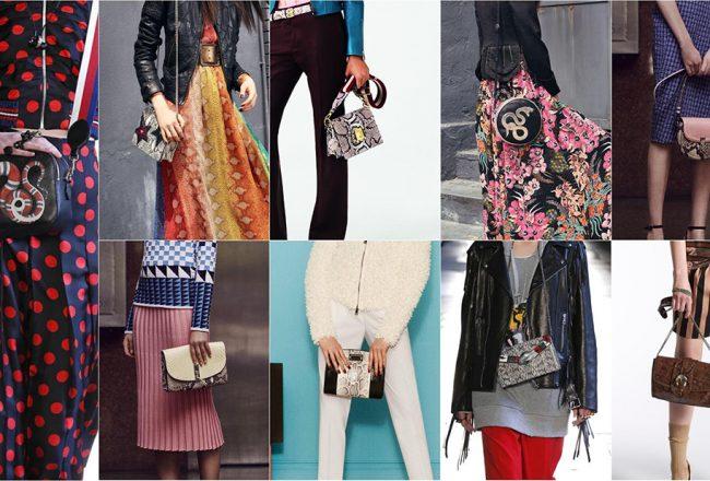 L to r: Gucci, Just Cavalli, Bally, Bags: Just Cavalli, Altuzarra, Altuzarra, Max Mara, Gucci, Rochas